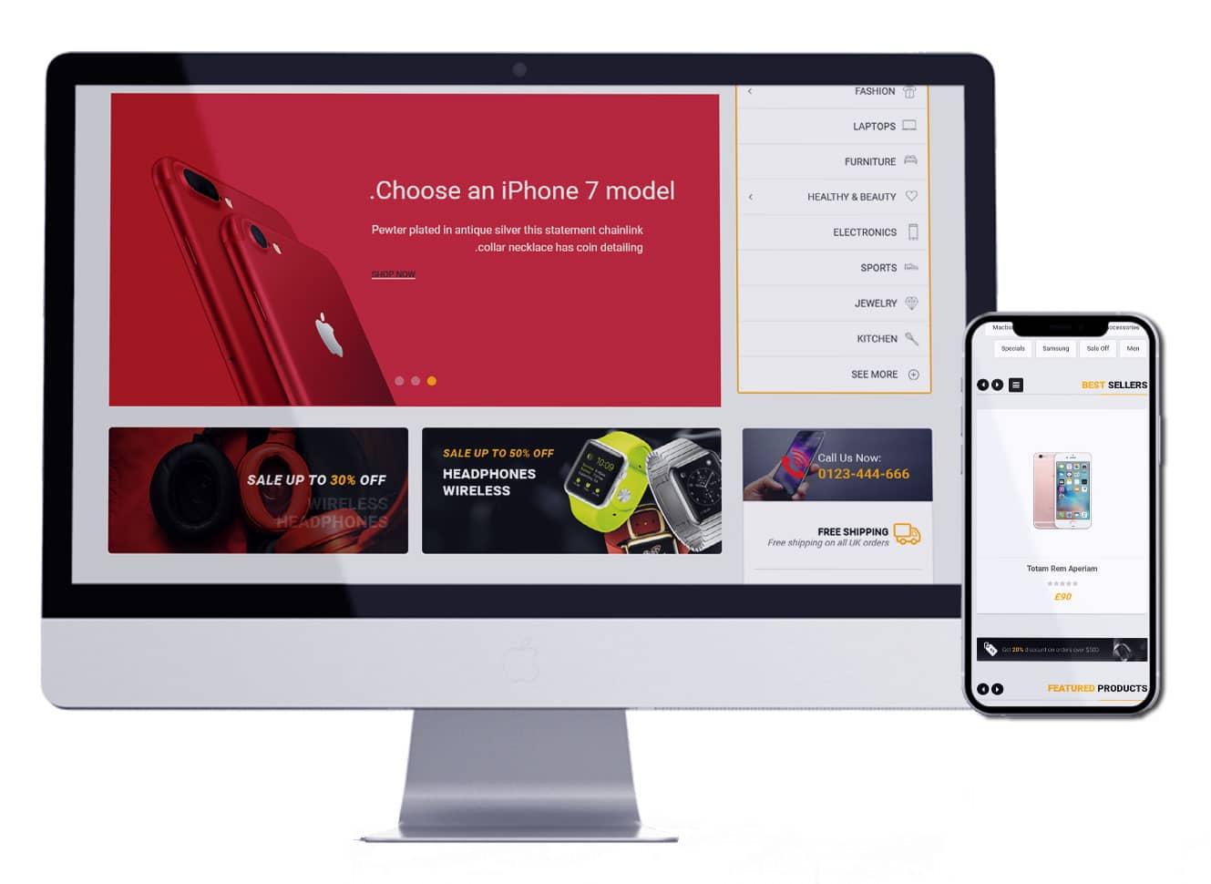 تصميم متجر لبيع المنتجات الالكترونية | تصميم متجر الكتروني