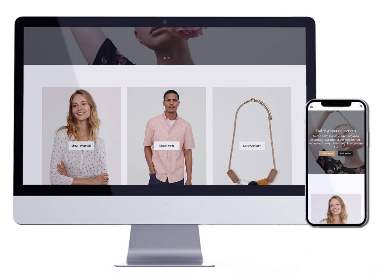 متجر ملابس   تصميم متجر الكتروني