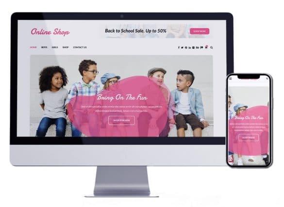 متجر بيع ملابس اطفال | تصميم متجر الكتروني